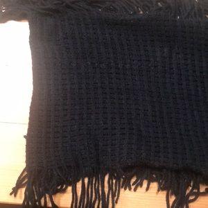 Black infinity scarf with fringe